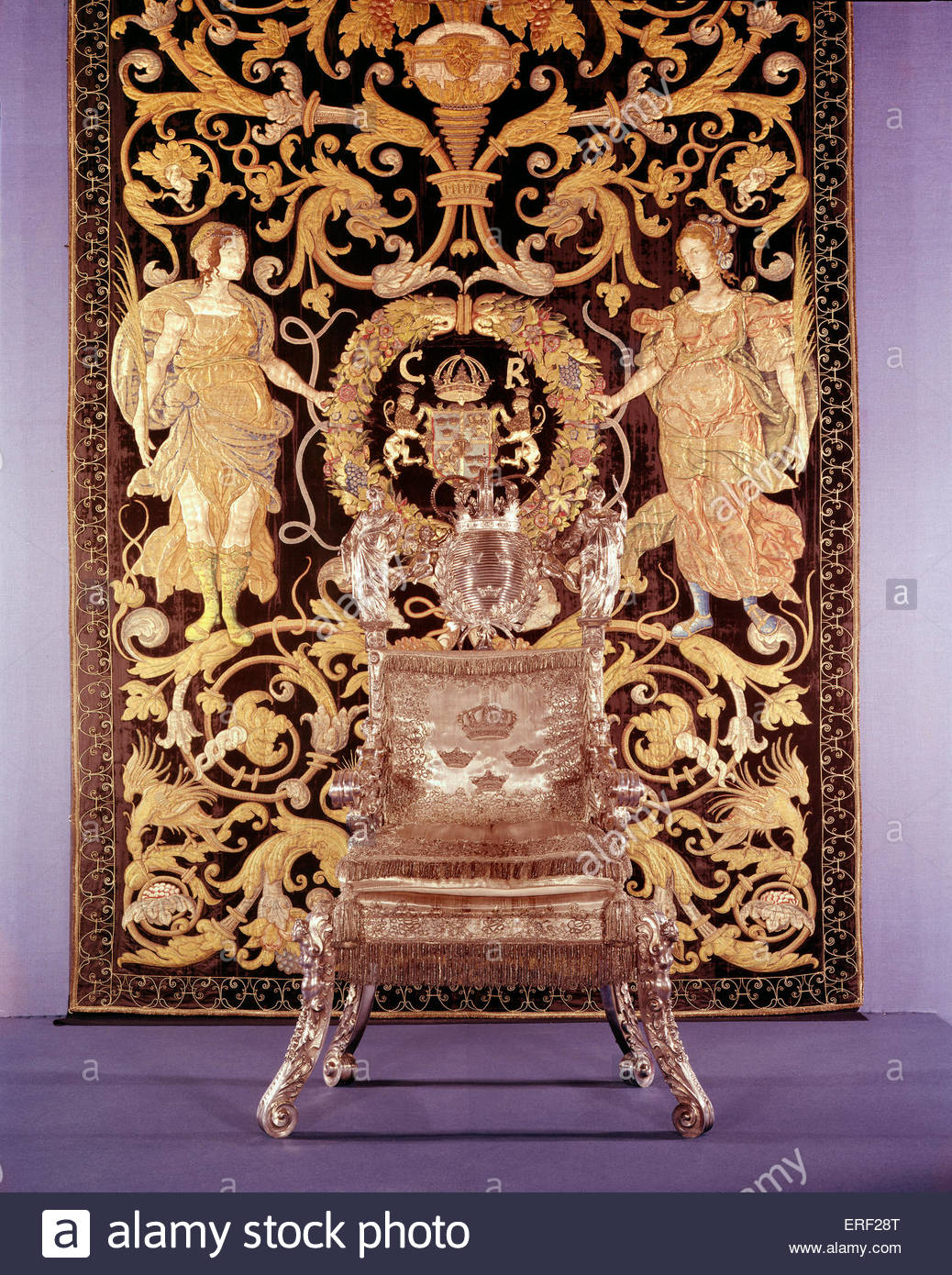The Swedish Royal Coronation chair. Embroidered crest with letters CR. - Stock Image