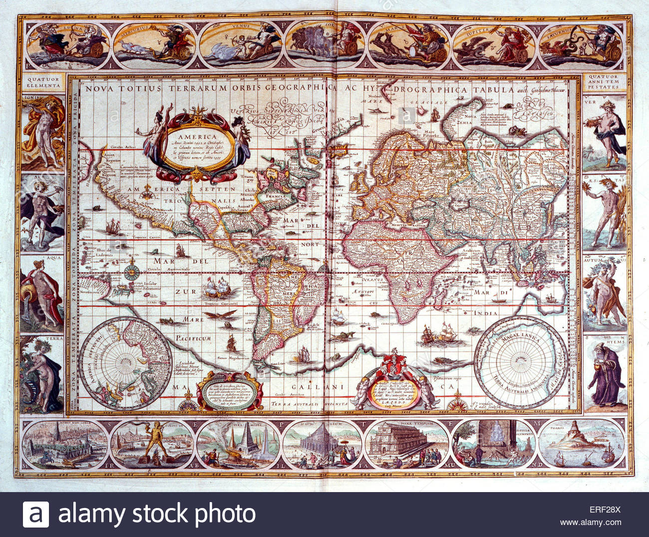 Early World Map by Willem Blaeu ('Nova totius terrarum orbis geographica ac hydrographica tabula'), 1645. - Stock Image