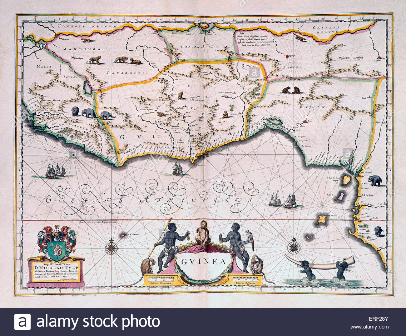 Map of Dutch Guinea by Joan Blaeu, son of Willem Blaeu. Author, with father, of Atlas Novus (1635) and official - Stock Image