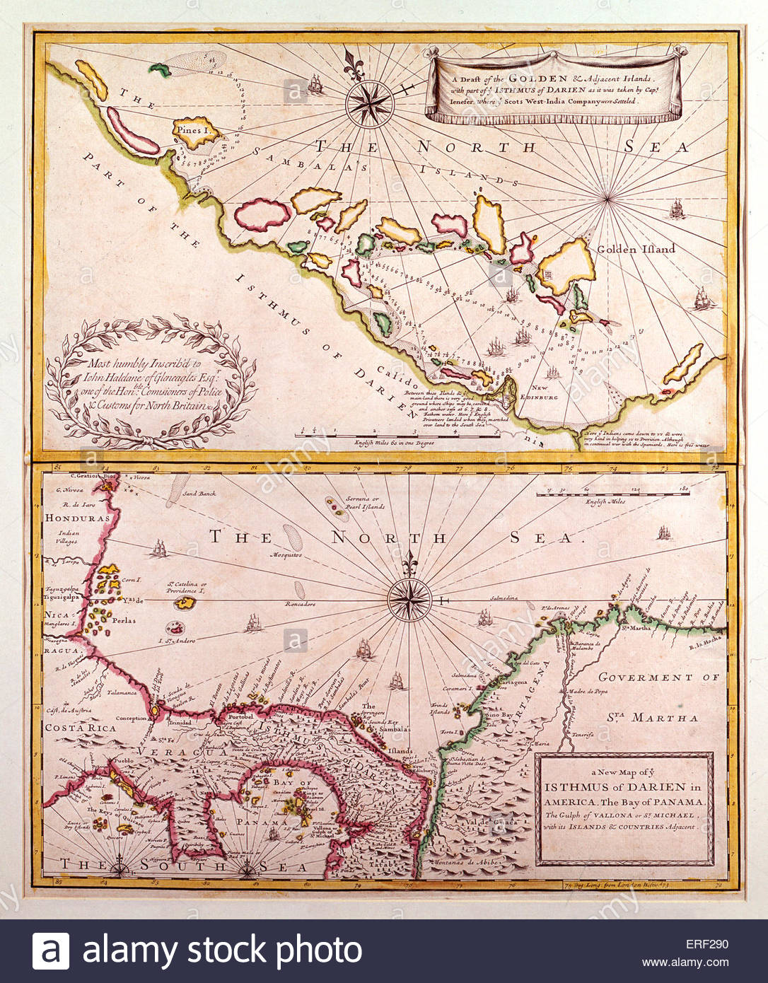 Isthmus of Darien - map by Blaeu (father & son), 17th century.   Also known as Isthmus of Panama, narrow strip - Stock Image
