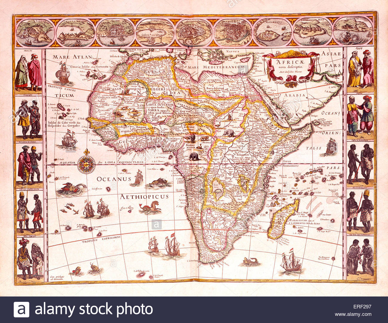 'Map of Africae' - from Joan Blaeu 's 'Grooten Atlas, Oft Werelt-Beschryving'.  Map dated 1665. - Stock Image