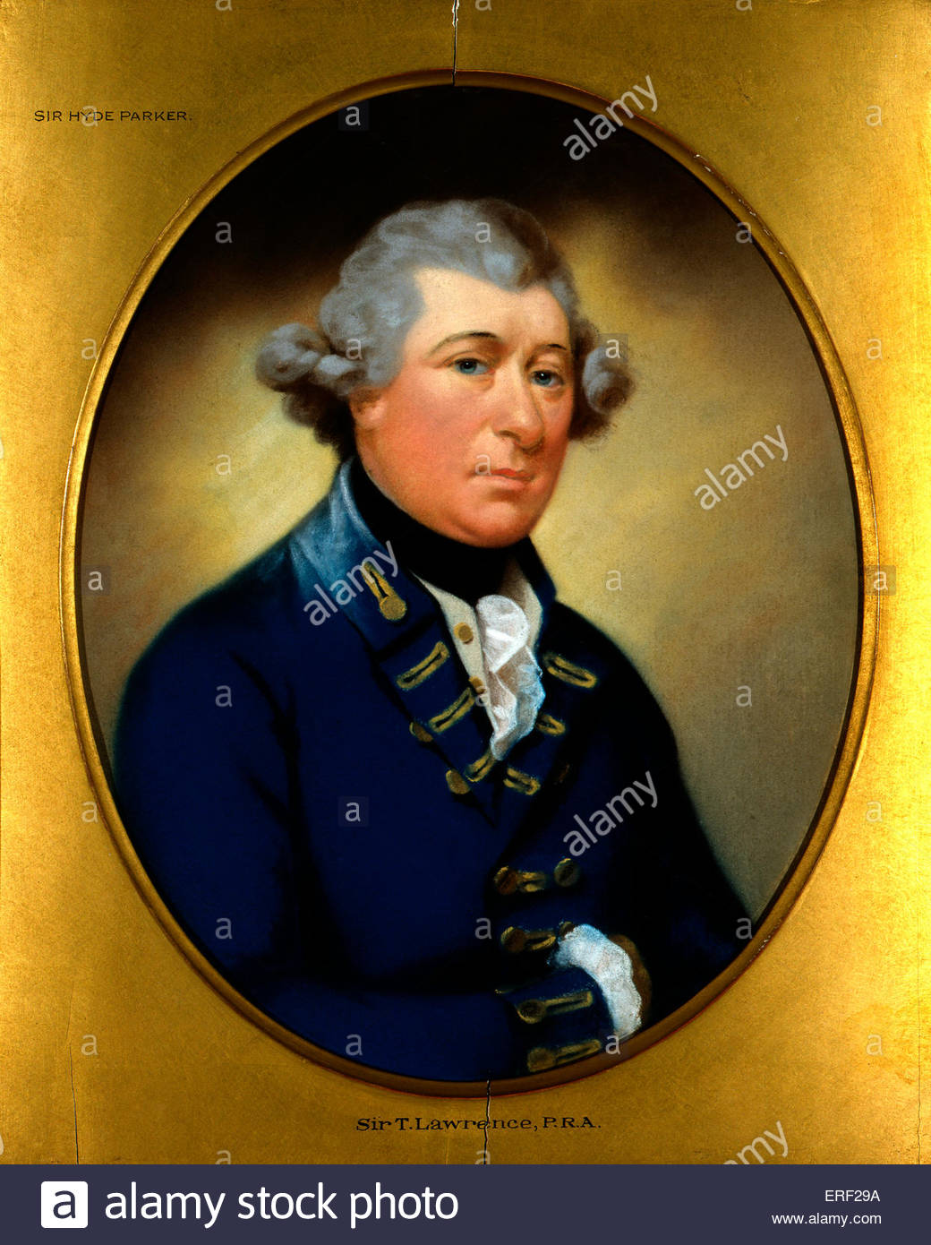 Sir Hyde Parker - portrait by unknown artist. British Vice-Admiral , 5th Baronet and  naval commander, 25 February - Stock Image
