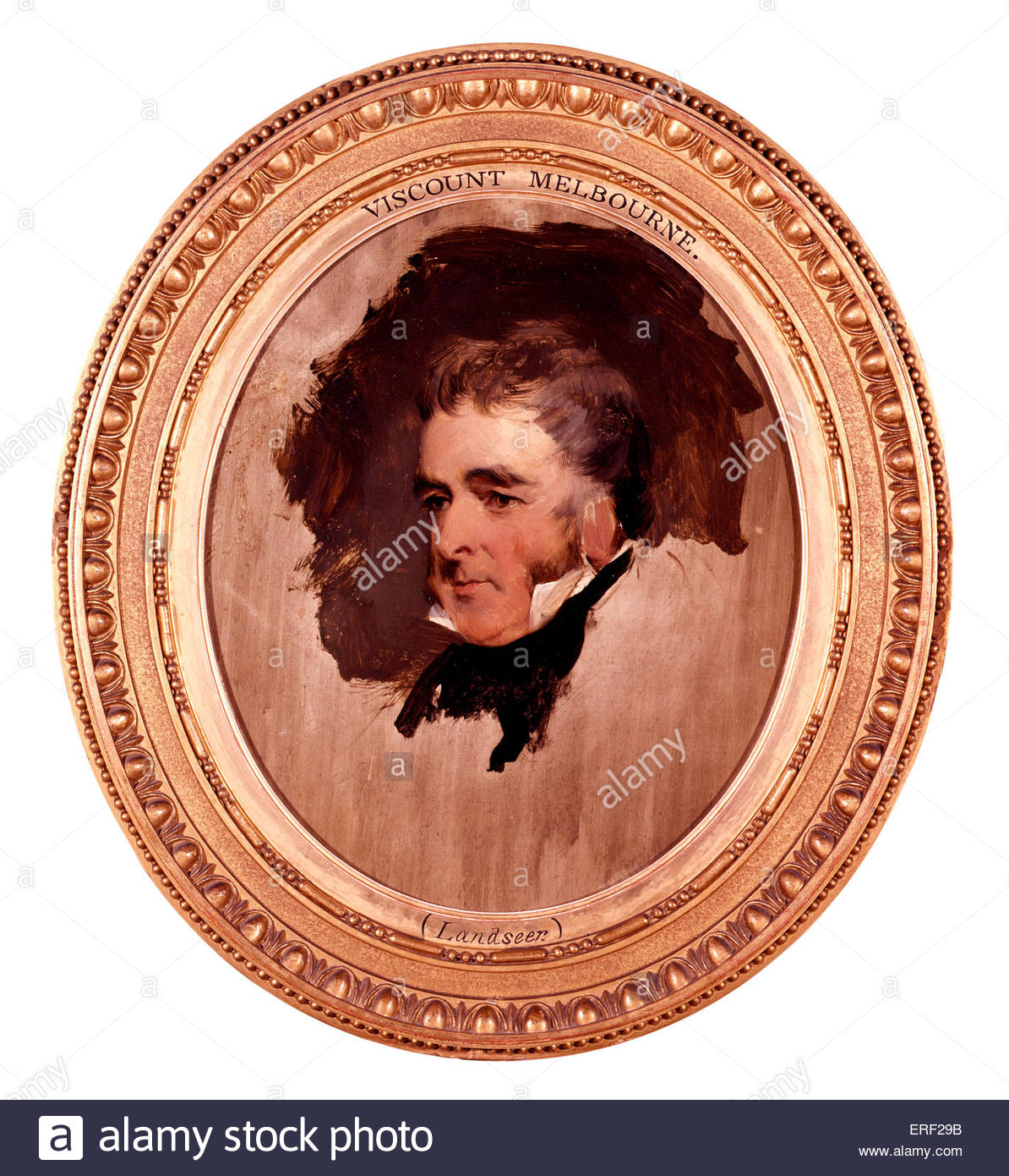 William Lamb, 2nd Viscount Melbourne by Sir Edwin Henry Landseer. WL: British Whig statesman who served as Home - Stock Image