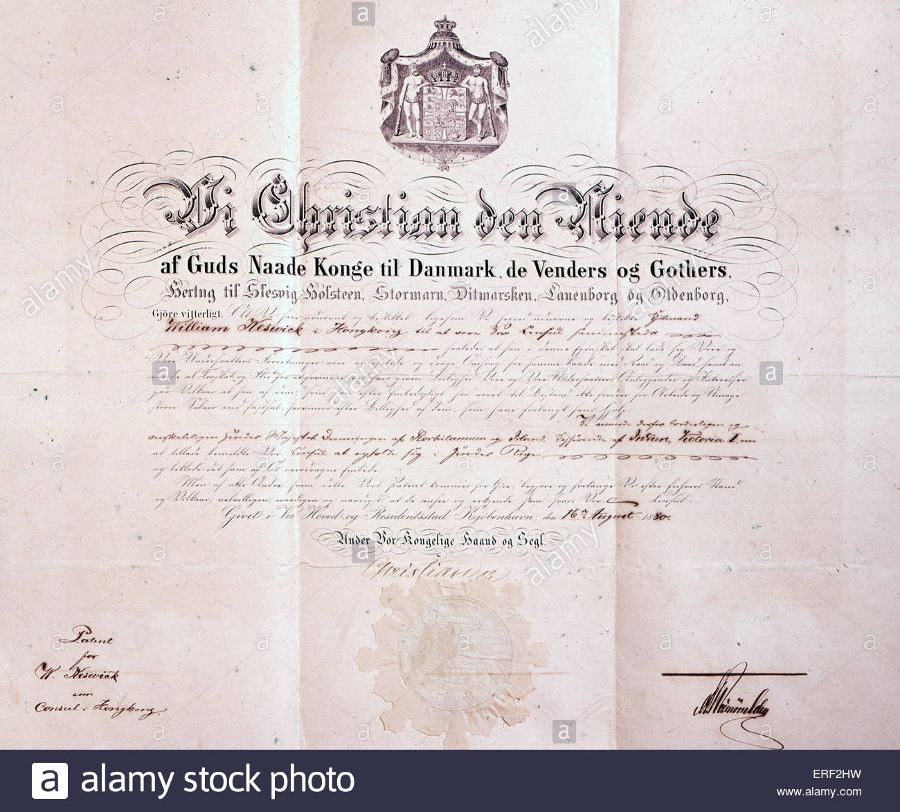 Patent signed by Christian IX of Denmark - appointing William Keswick as Danish consul in Hong Kong, China, 1880. - Stock Image