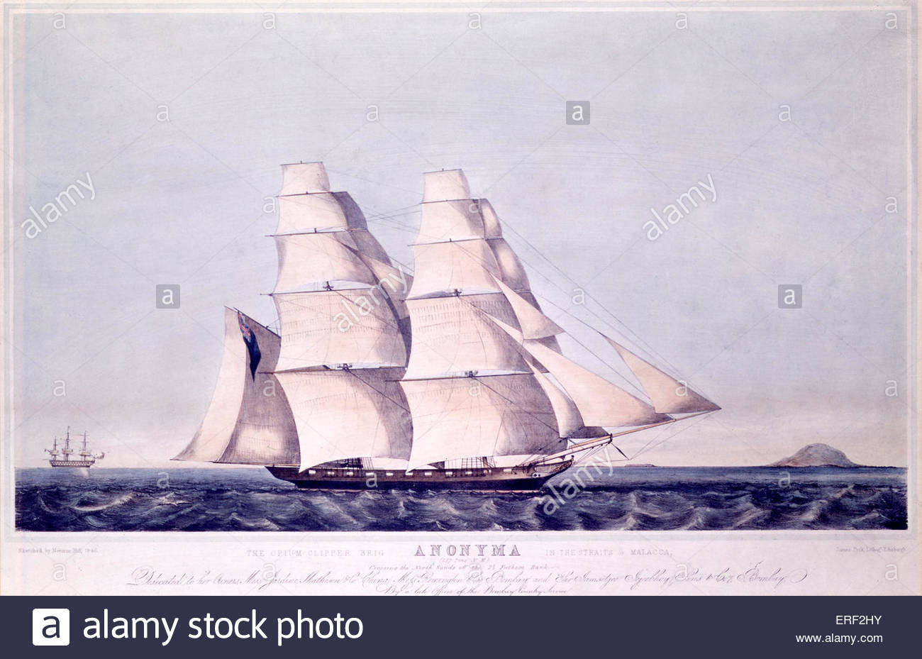 The Opium Clipper Brig Anonyma in the Straits of Malacca, by Norman Hill and James Peck, 1846. Coloured lithograph, - Stock Image
