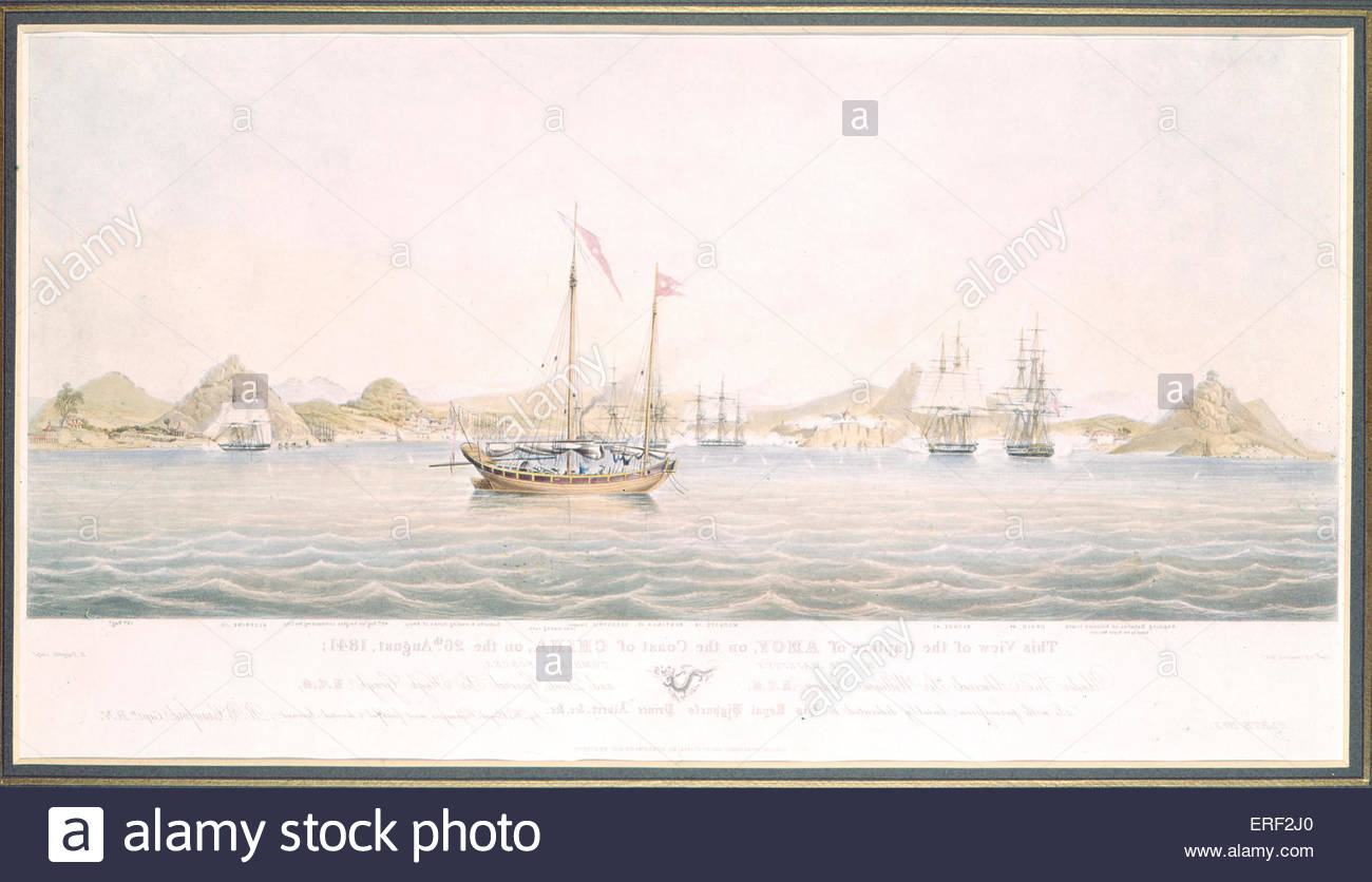 Amoy captured off the coast of China by Crawford, R B Papprill, Henry Ackermann & Co, 1 September 1844. Caption: - Stock Image