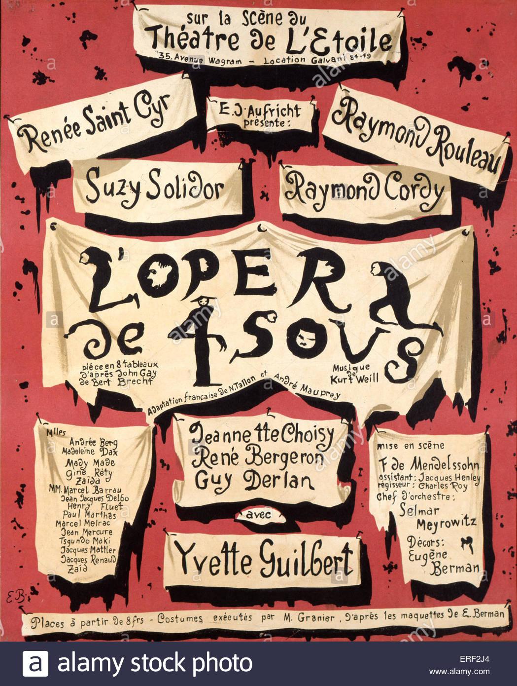 L'Opéra de 4 sous - by Kurt Weill. Poster. Performed at Théatre de l'etoile, Paris, France. Starring - Stock Image