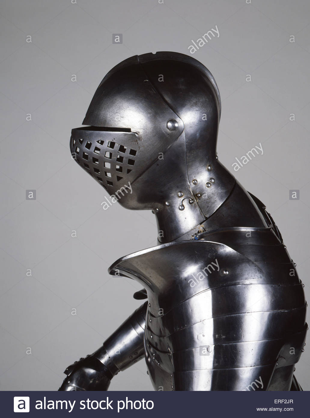 Henry VIII 's combat foot armour, c. 1520, Southwark, London. Helmet.  Every part locks over another. Designed - Stock Image