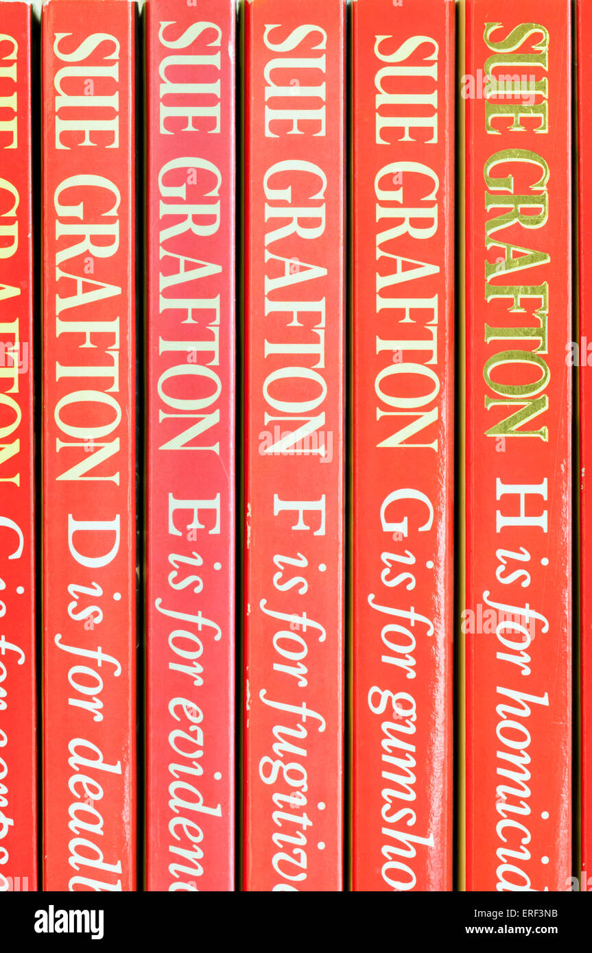 The first paperback volumes of Sue Grafton's alphabet series of detective novels featuring Kinsey Millhone. - Stock Image