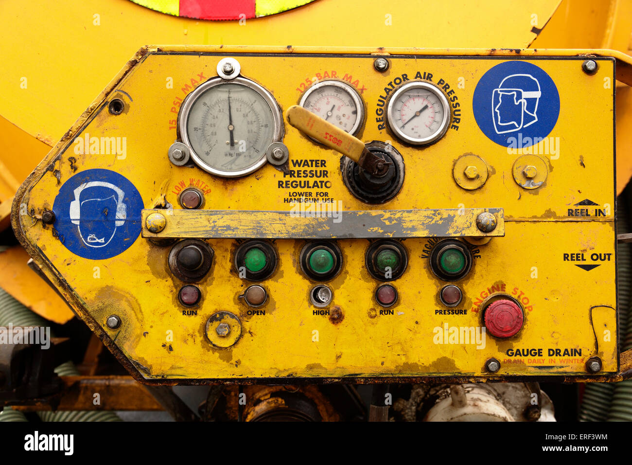 A old worn out control panel - Stock Image