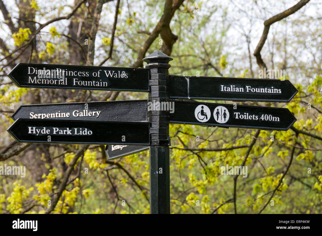 A sign post pointing to various attractions and points of interest in Kensington Gardens, London. - Stock Image