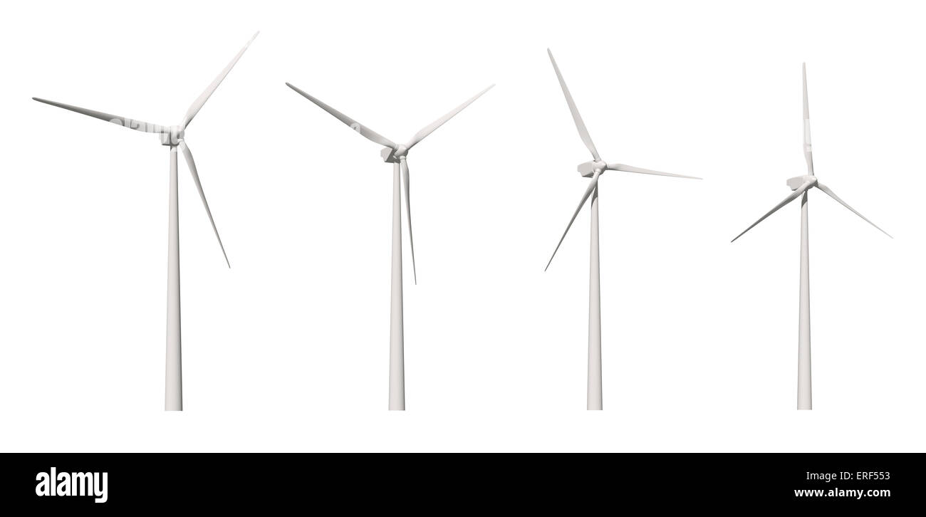 Wind-mill isolated on white background with clipping path - Stock Image
