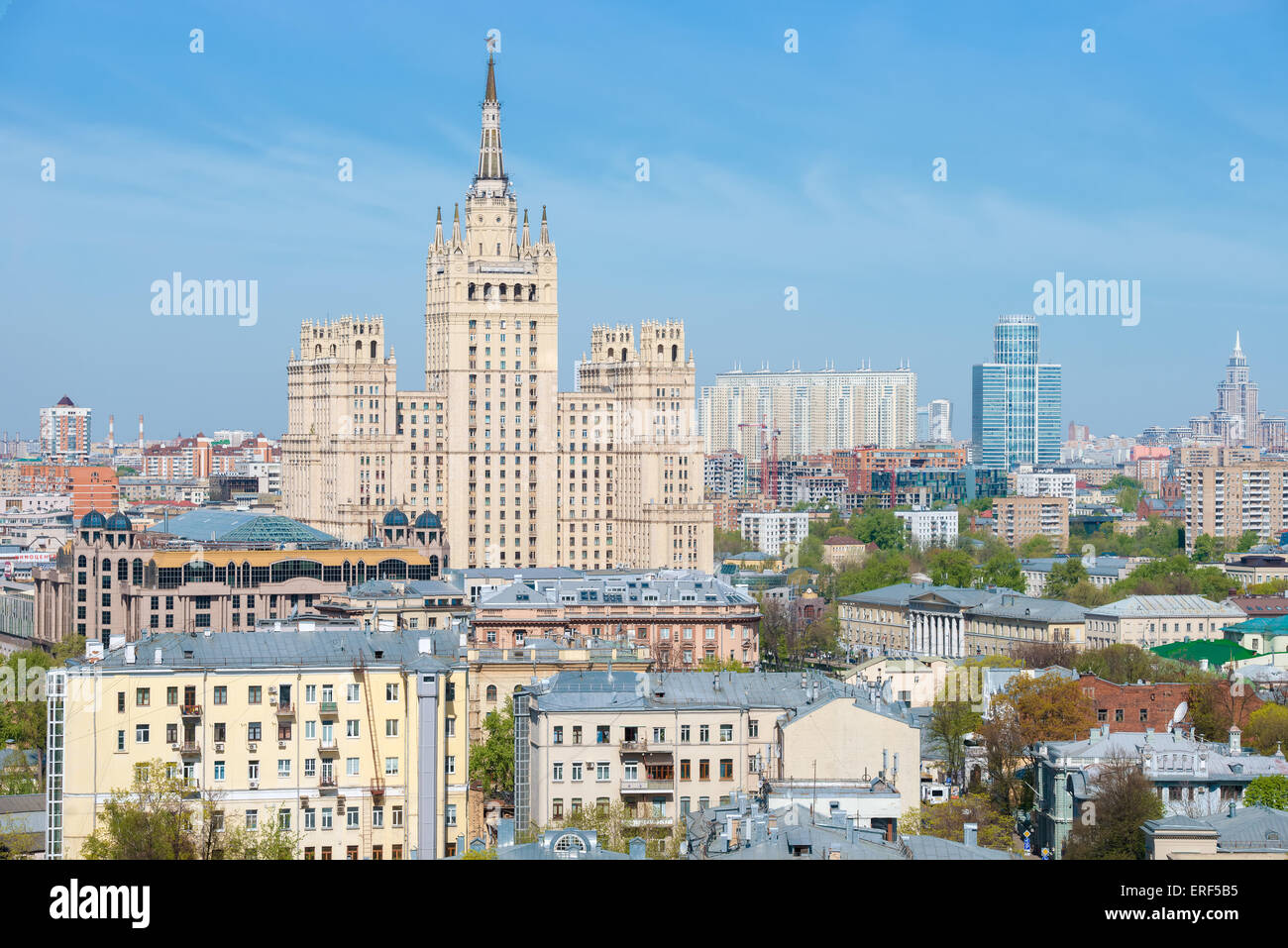 Panoramic view on top of the Stalin skyscrapers on Kudrinskaya Square and Presnensky district of Moscow Stock Photo