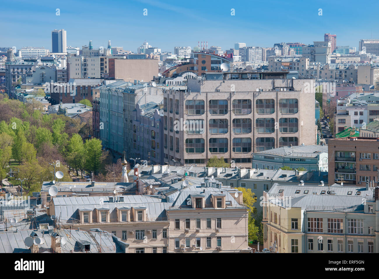 View Tverskoy Boulevard and the building of ITAR-TASS news agency, Moscow - Stock Image