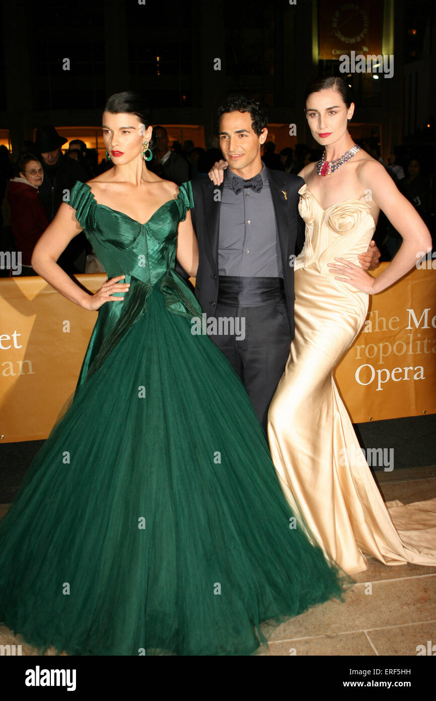 Model Crystal Renn, designer Zac Posen and Erin O'Connor attend the 2012 Metropolitan Opera Season opening night Stock Photo