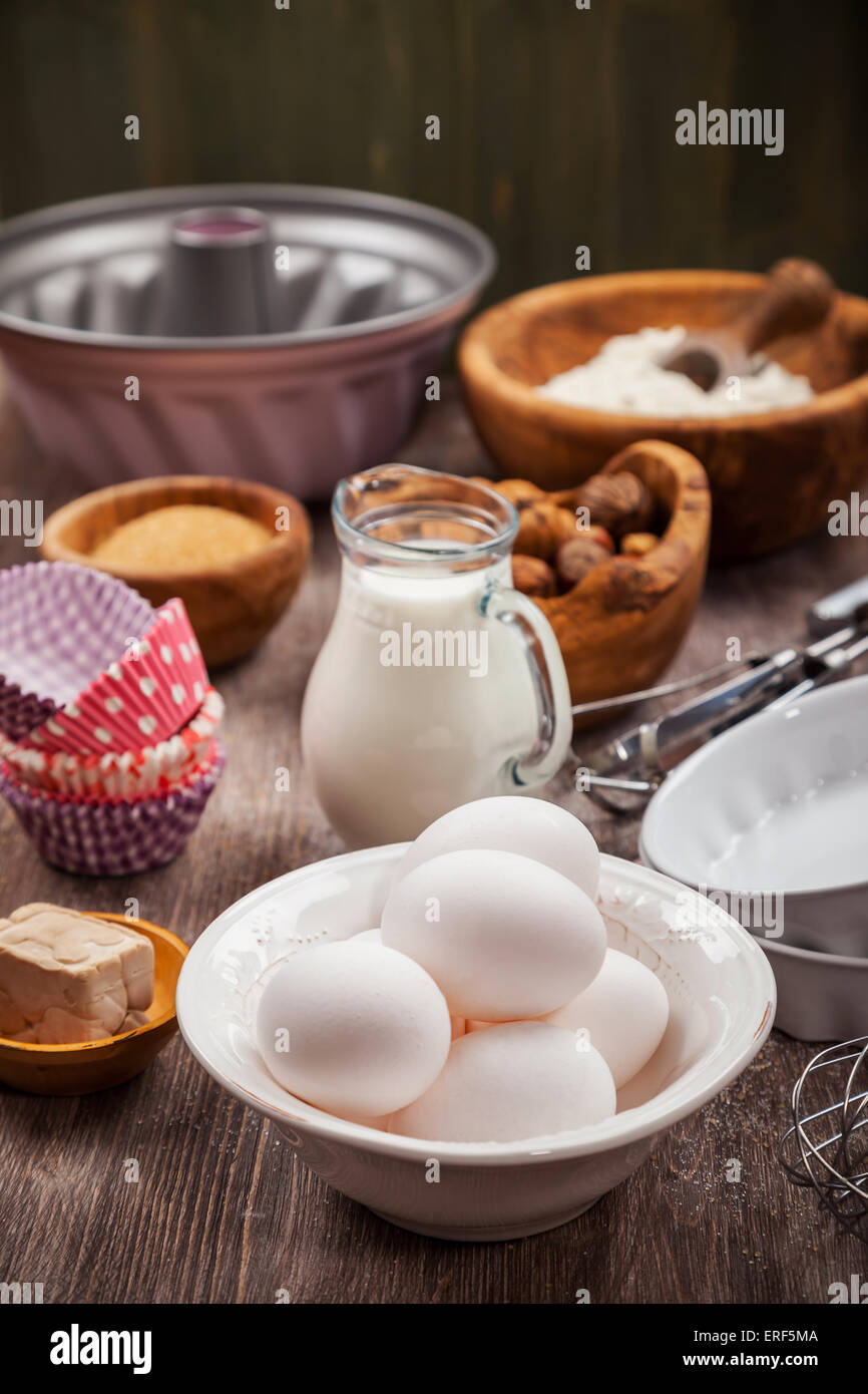 Baking ingredients for cake or cookies - Stock Image