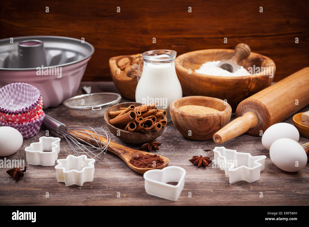 Baking utensils with ingredients for cake or cookies - Stock Image