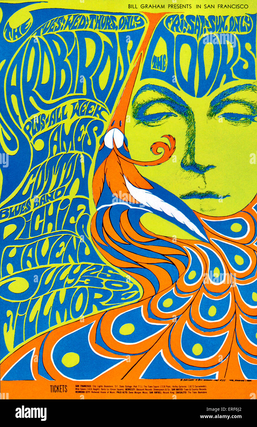 Poster for several July 1967 concerts at the Fillmore Auditorium, San Francisco, USA,  featuring the Yardbirds, - Stock Image