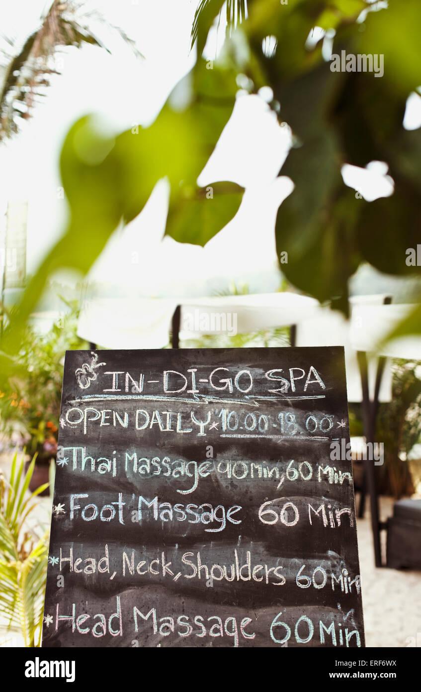 A menu of spa treatment for the Beach Club outpost of IN-DI-GO Spa, Nai Yang Beach, Indigo Pearl Resort, Phuket, - Stock Image