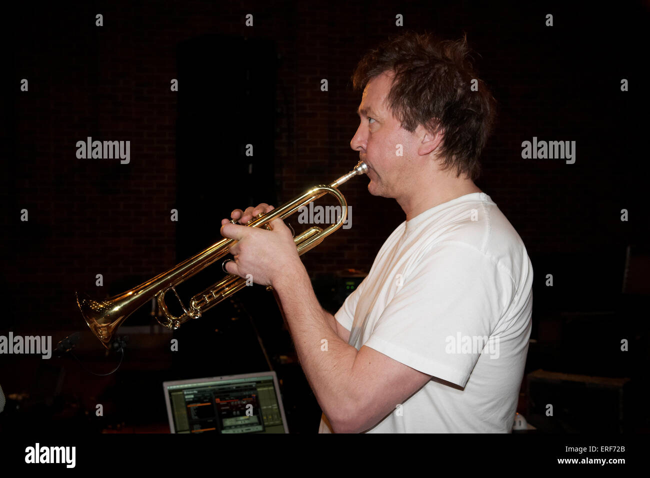 Nils Petter Molvaer playing trumpet during his soundchecks at the Turner Sims Concert Hall in Southampton, Hampshire, - Stock Image