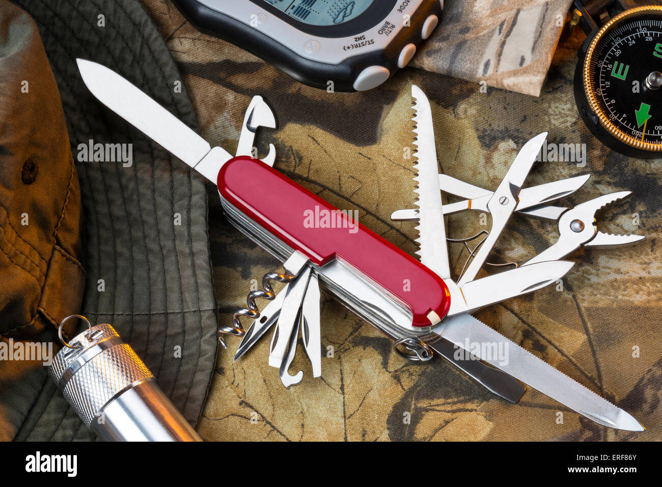 A Swiss Army style of multifunctional knife and equipment for the great outdoors. - Stock Image