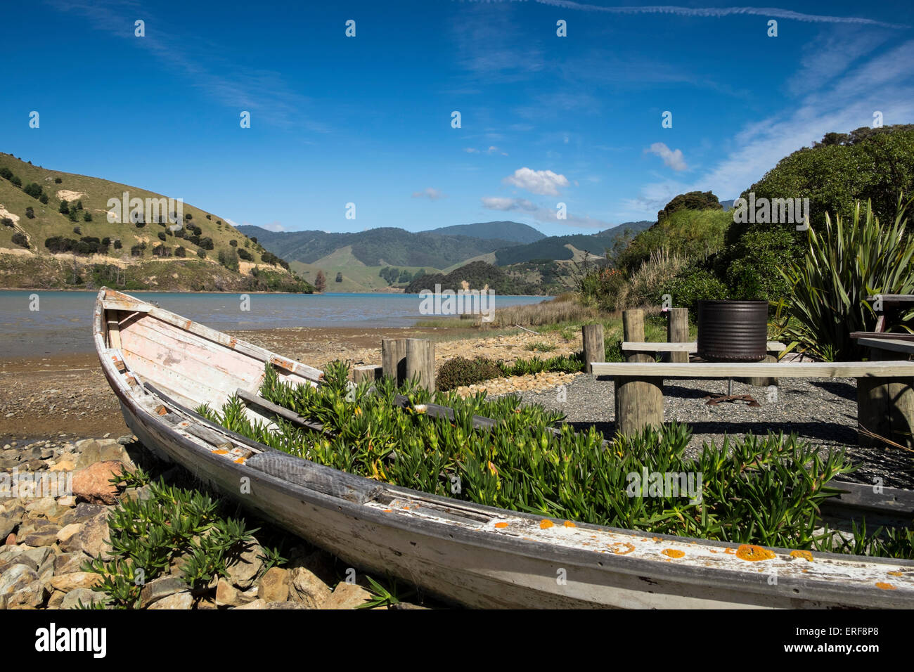 Old wooden boat finds new life as a plant pot in a coastal garden on Cable Bay, New Zealand. Stock Photo