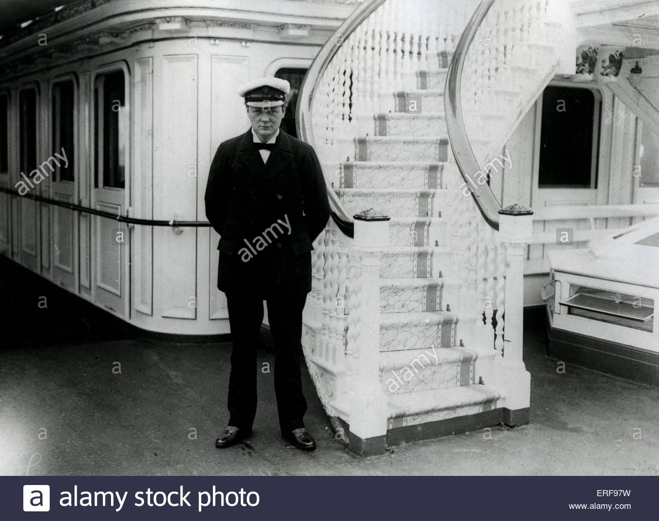 Winston Churchill  as First Sea Lord 1912 on HMS Enchantress.    British politician and Prime Minister. 30 November - Stock Image