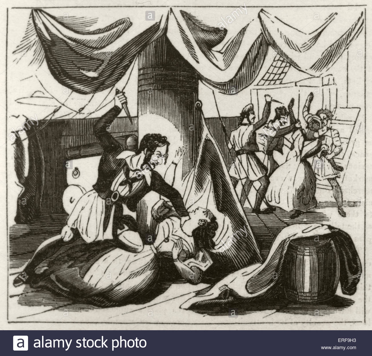Piracy and murder on board the brig 'Islam'. Caption reads: Miss Campbell and her negro servant murdered - Stock Image