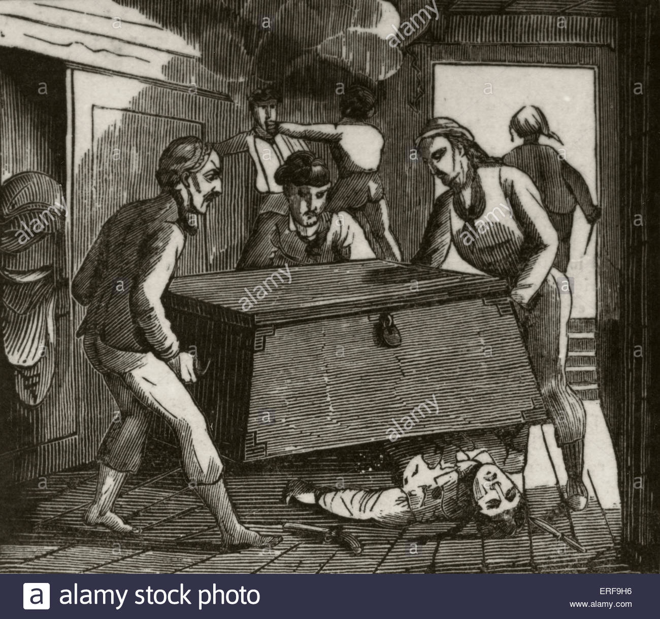 Red Gordon, the Scotch pirate. Caption reads: Gordon and his companions pressing the French captain to death with - Stock Image
