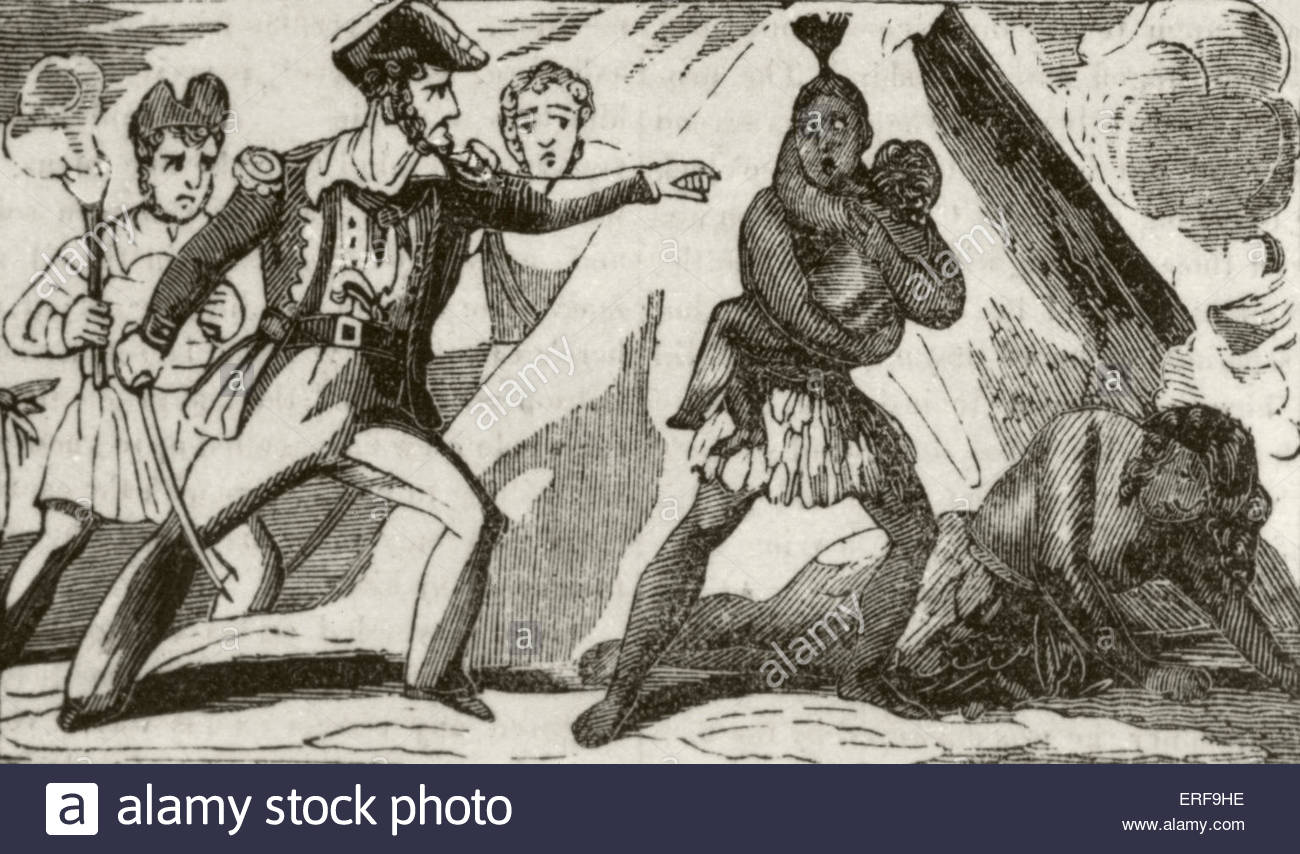 Adventures of Captain Edward England. Caption reads: England and his men destroying a negro settlement. Source: - Stock Image