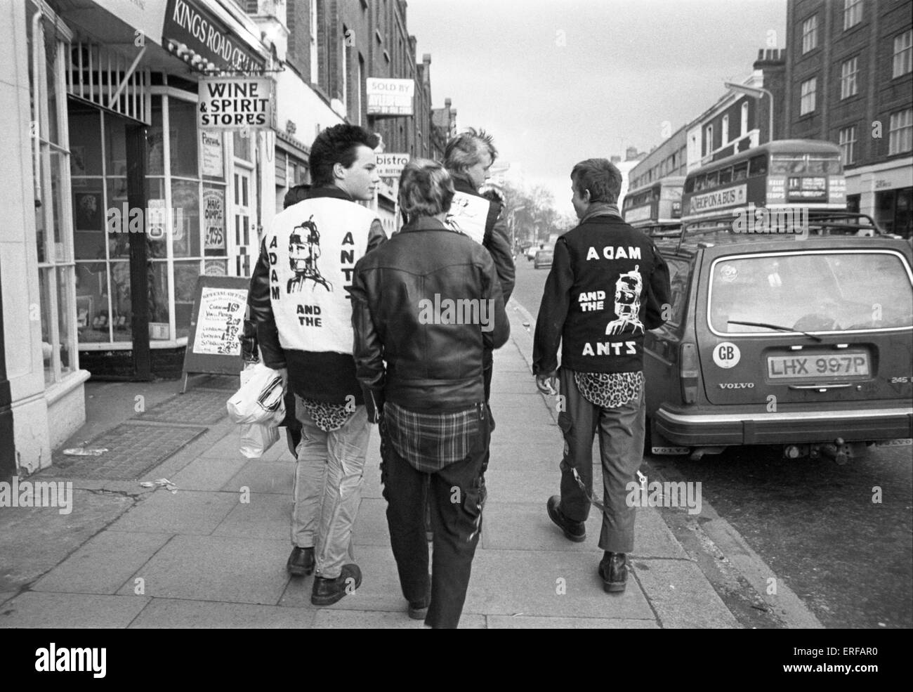 Three Punk boys walking in the King's Road, London, UK, in 1979. Two of the boys wearing Adam & the Ants - Stock Image