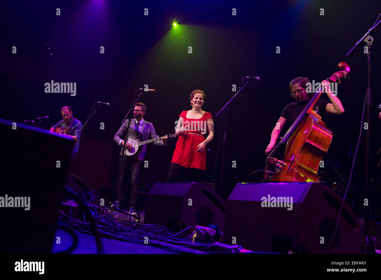 Joy Kills Sorrow, American contemporary string band, performed at Opening concert Celtic Connections 2014. Based - Stock Image