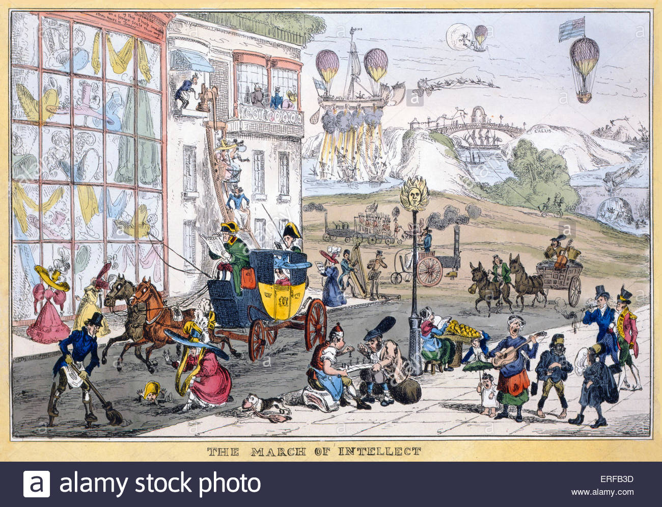 Caricature of future travel ' March of intellect ', 1829  by William Heath  (1795–1840). - Stock Image
