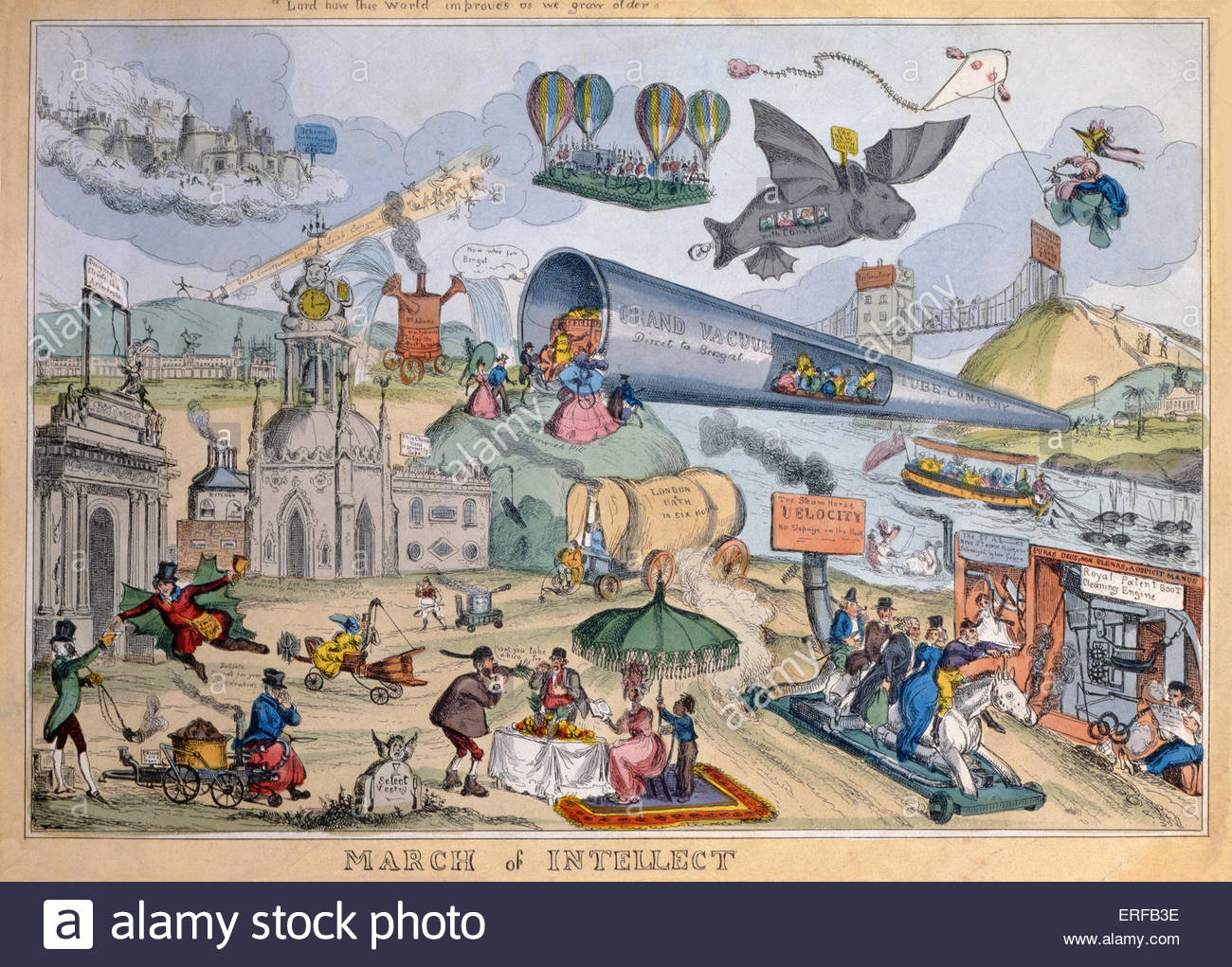 Caricature of future travel ' March of intellect ', 1829  by William Heath  (1795–1840). Vehicle reads 'London - Stock Image