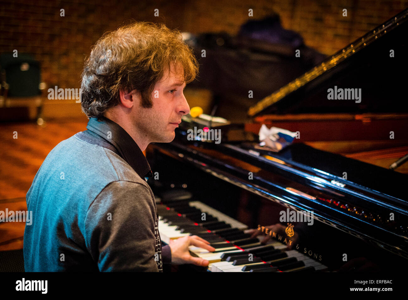 English pianist Ivo Neame during sound checks at the Turner Sims Concert Hall (Southampton, England) - Stock Image