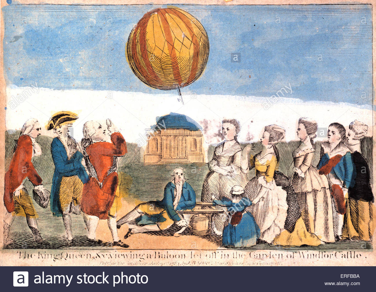 King George III, the Queen and a crowd watching Francois Pierre Argand 's demonstration of a balloon being let - Stock Image