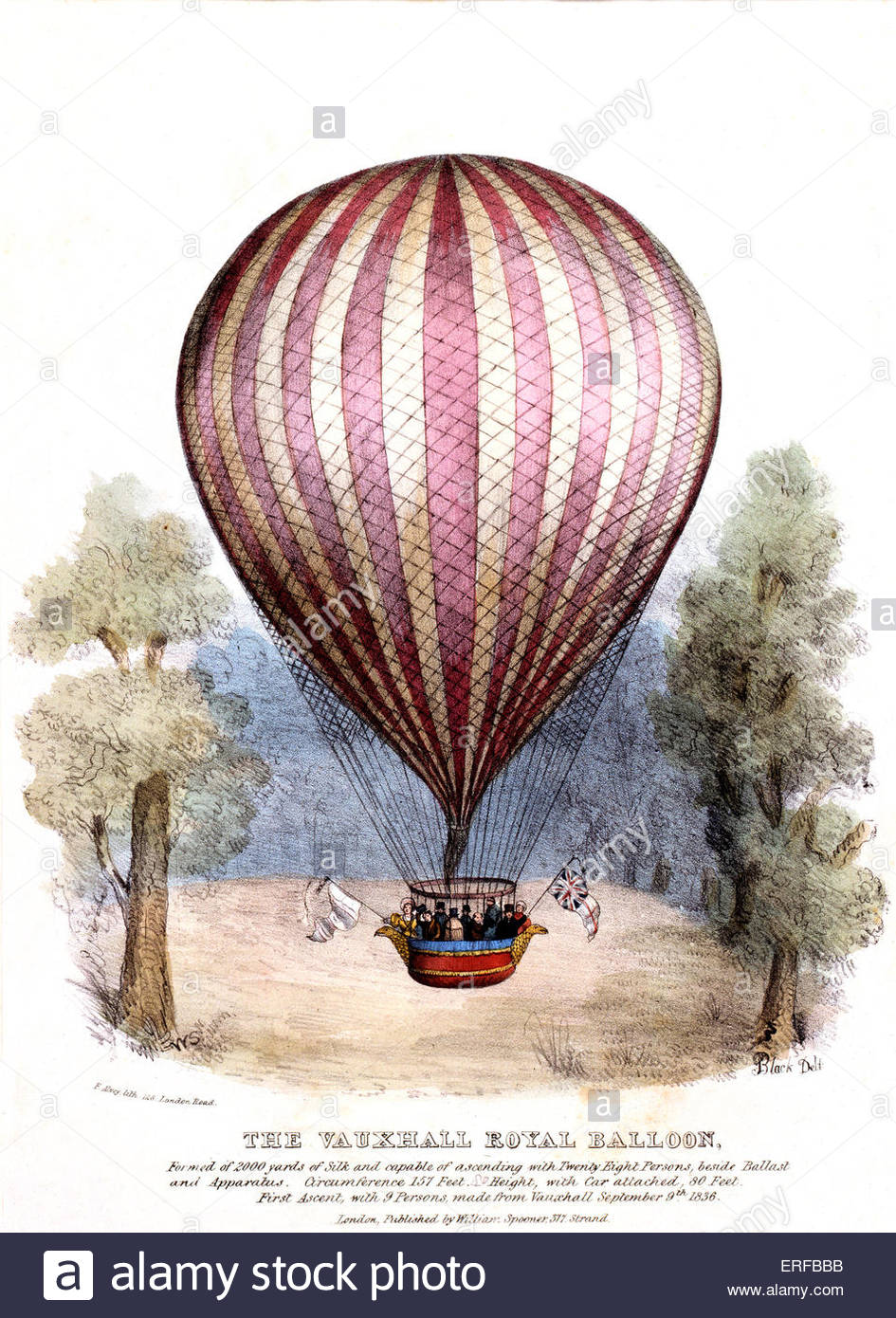 Vauxhall 'Royal Balloon', first ascent with nine persons, 9th September 1836. Charles Green constructed - Stock Image