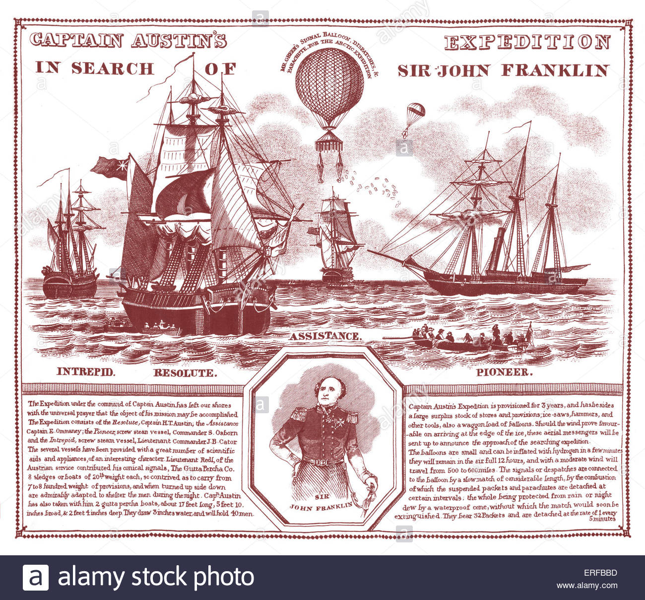 Captain Austin 's expedition in search of Sir John Franklin. Shows Horatio Austin's fleet in 1850, accompanied - Stock Image