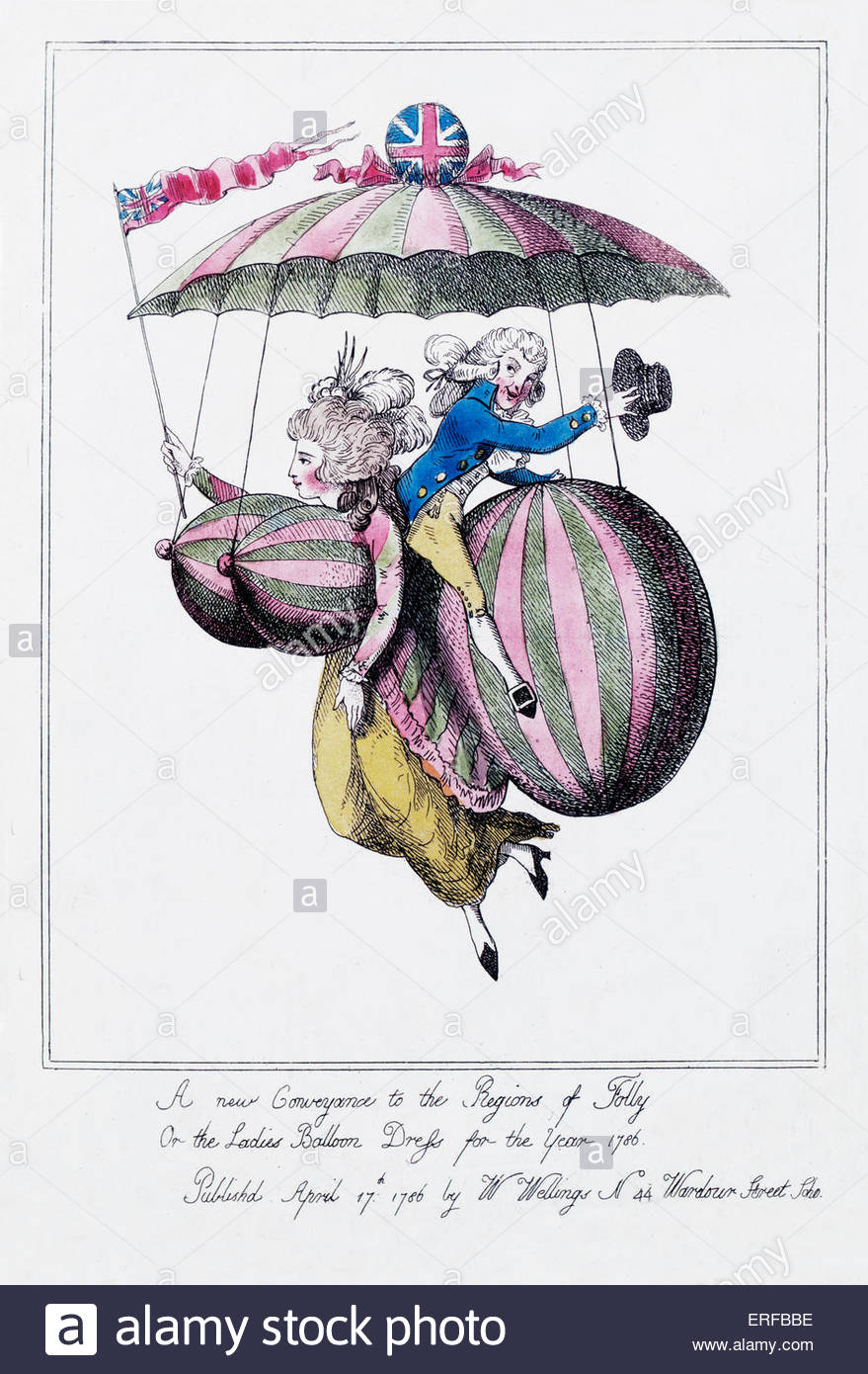 Caricature, 18th century woman and man. Caption reads: 'A new conveyance in the regions of folly, or the ladies - Stock Image