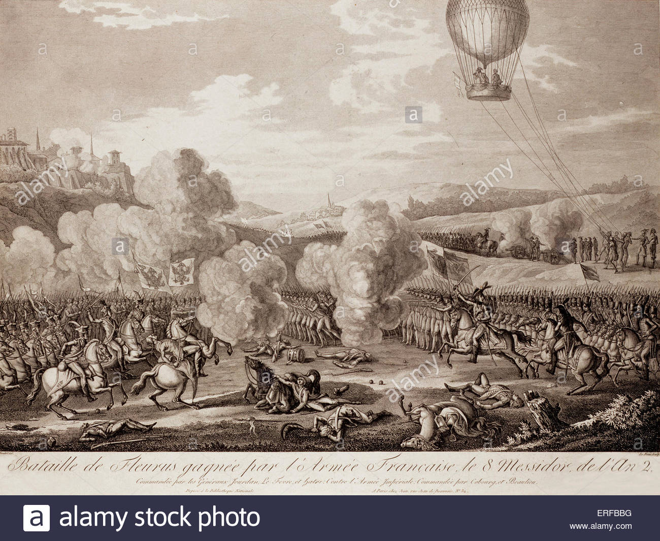 Battle of Fleurus, 26 June 1794. French defeat of the Austrians, Dutch, and their allies. The hot air balloon 'La - Stock Image