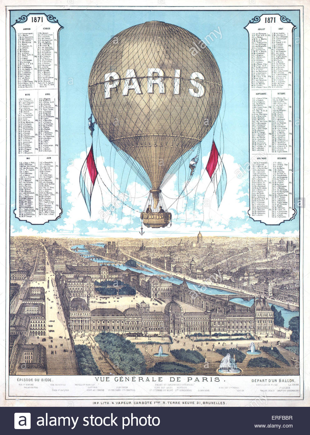 General view  of Paris, hot air balloon 1871. List of ballon departure locations during the Paris siege (1870-71). - Stock Image