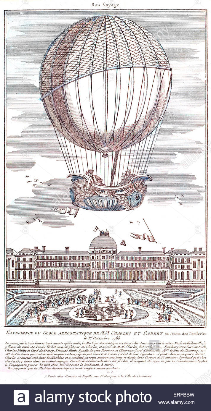 The Roberts brothers' manned hydrogen balloon flight, ascending from the Jardin des Tuileries, Paris, on the - Stock Image