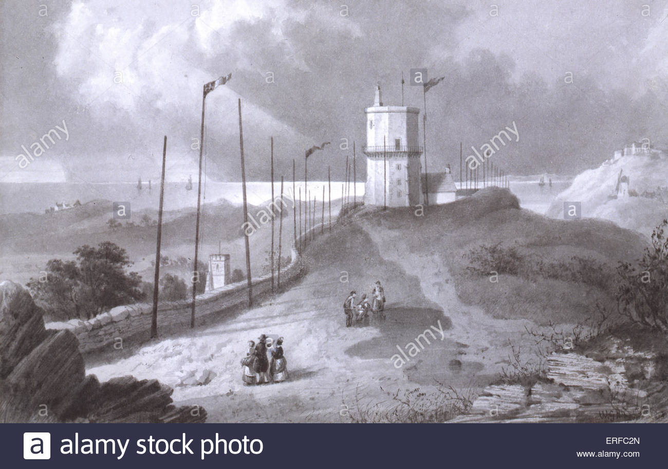Bidston Hill Observatory and Signals, 1830 by W G Herdman. Courtesy Mersey Docks & Harbour Company. - Stock Image