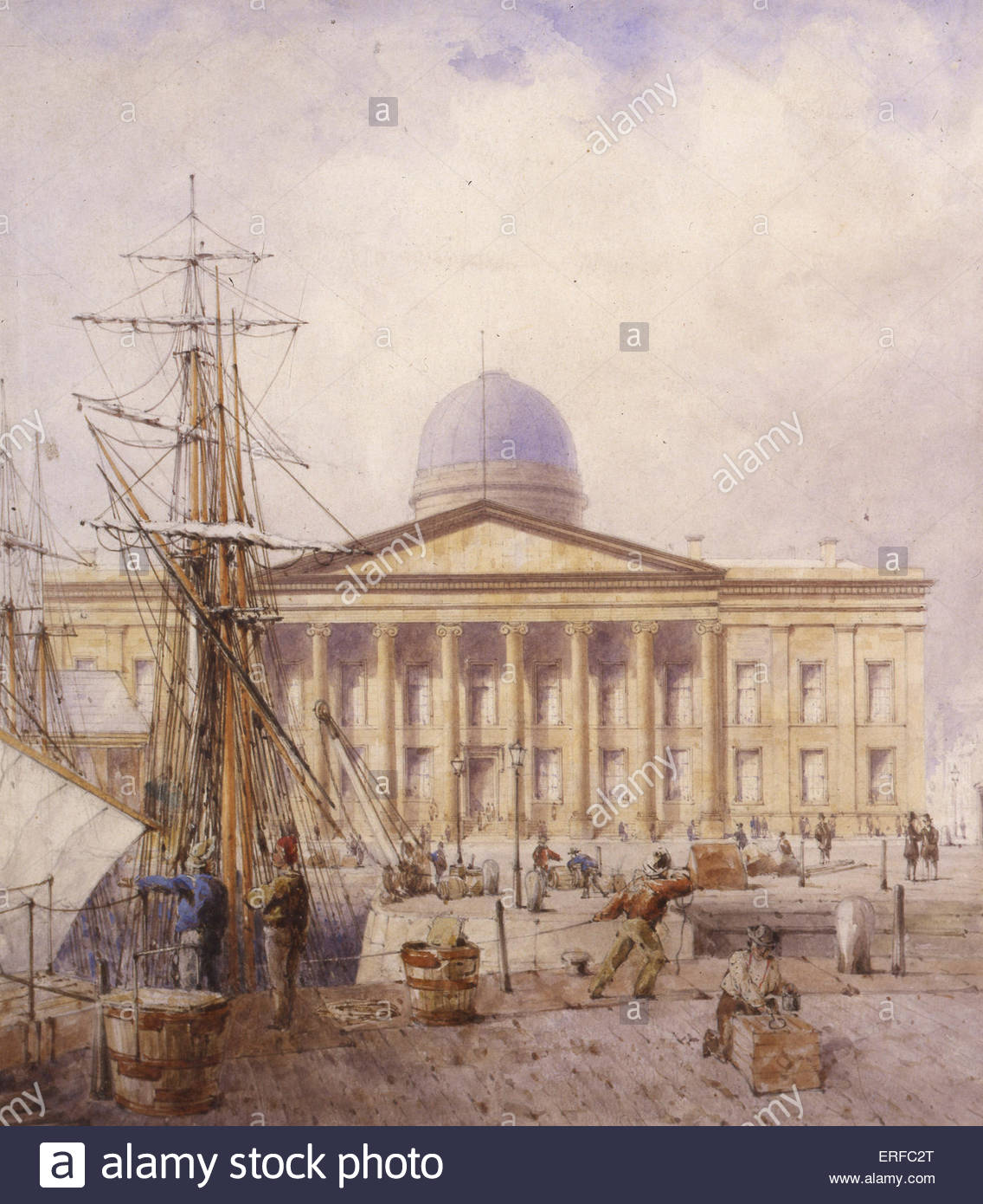 Liverpool's Fifth Custom House and corner of Canning Dock, 1861, by W G Herdman. Courtesy of Liverpool City - Stock Image