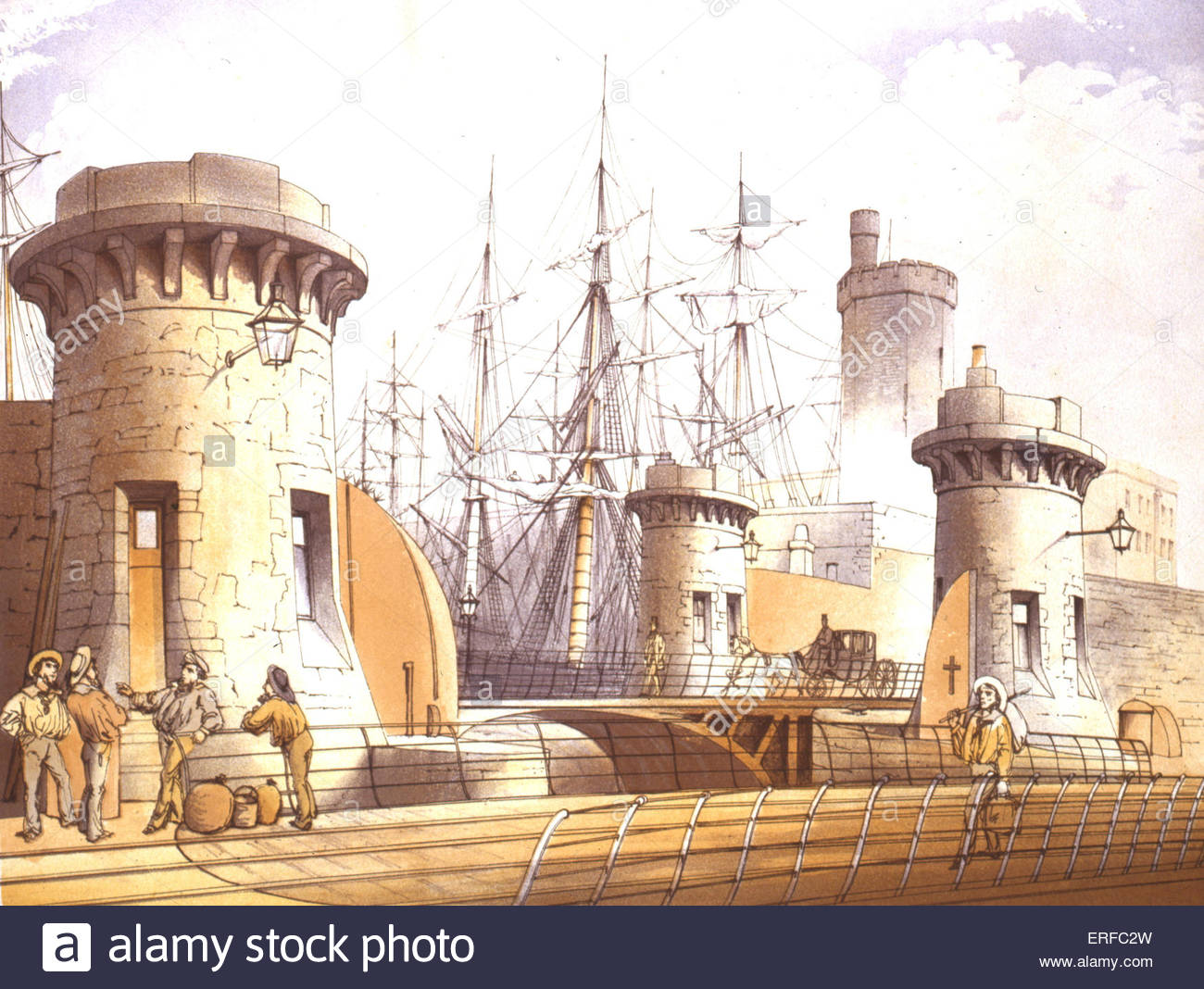Stanley Dock Gates, 1864 - coloured lithograph by W Herdman. Courtesy of Liverpool City Libraries. - Stock Image