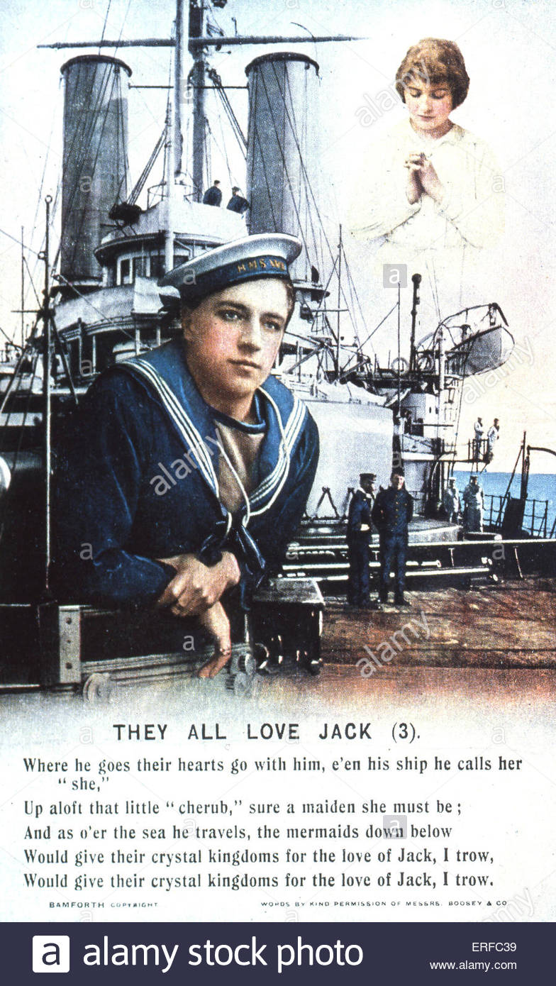 'They All Love Jack (3)', early twentieth century maritime postcard. Shows young sailor in front of a battleship, - Stock Image