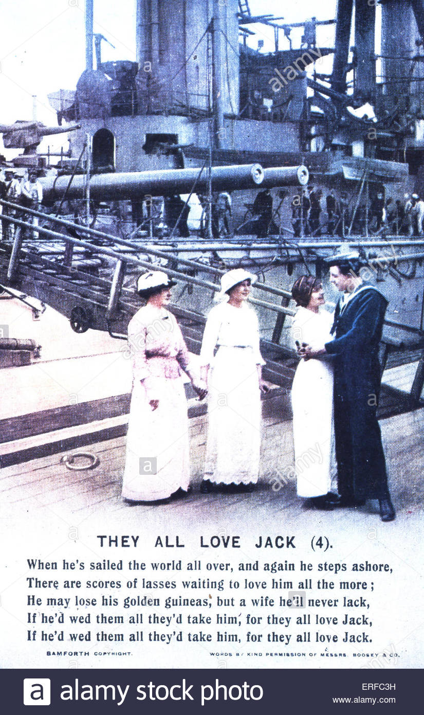 'They All Love Jack (4)', Early Twentieth Century Maritime Postcard. Shows sailor embracing woman, two other - Stock Image