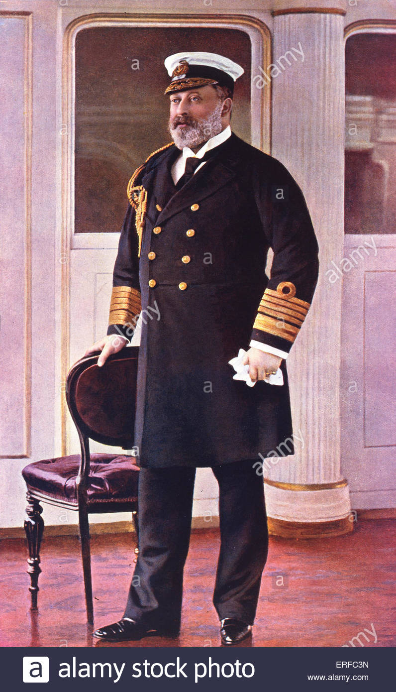 Albert Edward Prince of Wales, Honorary Admiral of the Fleet, in uniform, from 'Navy and Army Illustrated' - Stock Image
