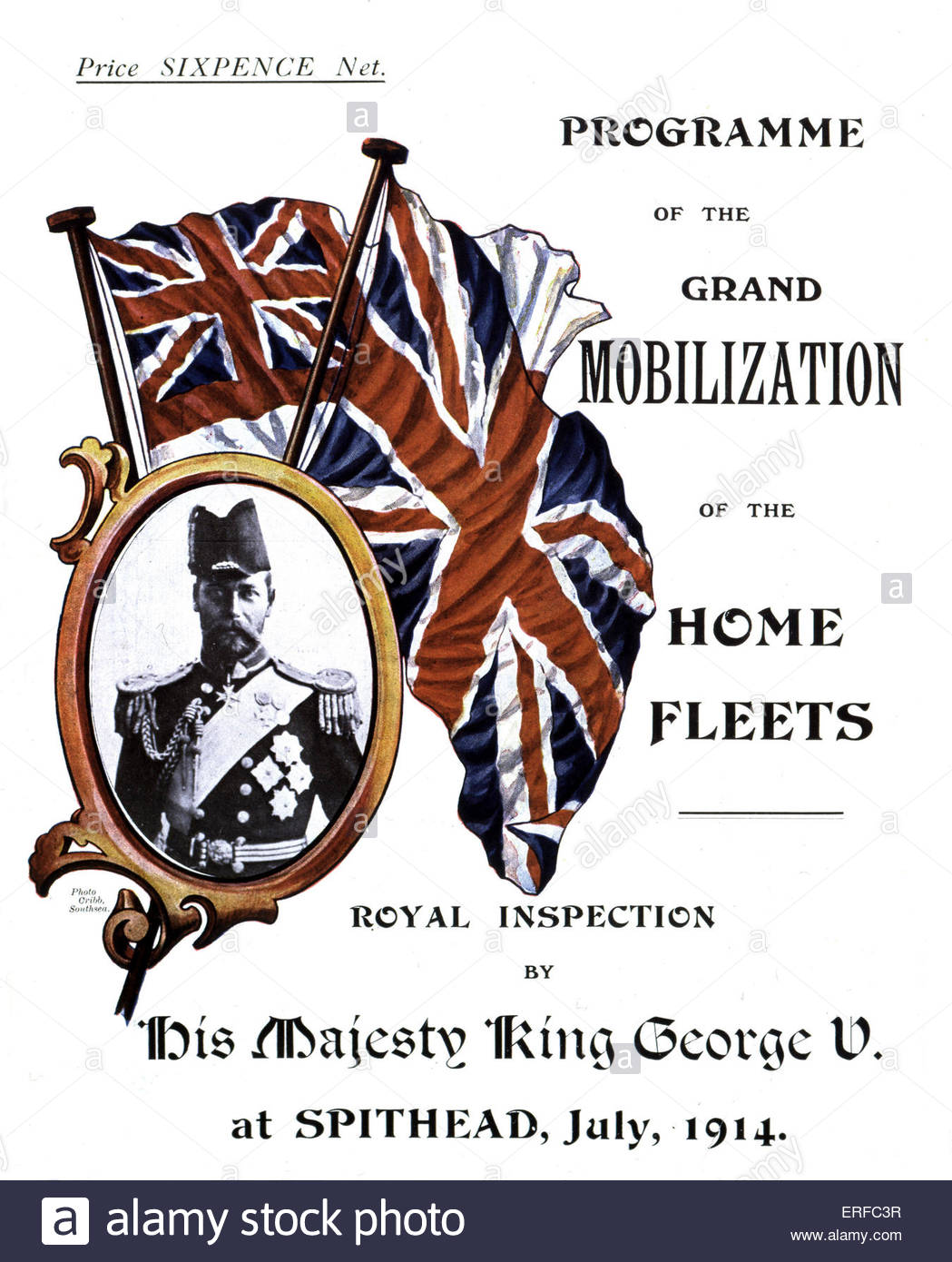 Cover of 'Programme of the Grand Mobilization of the Home Fleets. Royal inspection by His Majesty King George - Stock Image
