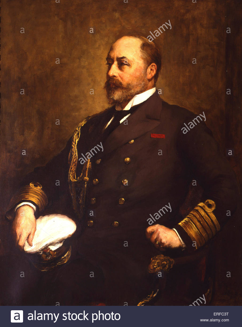 Edward VII (as Commodore and Admiral of the Royal Yacht Squadron) by Walter W Ouless, 1899. Courtesy of the Royal - Stock Image